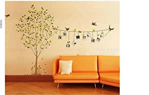 Sticker mural auto collant cadre oiseaux arbre deco maison for Collant mural