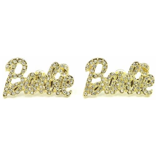 Nicki Minaj Barbie Iced Out Crystal Earrings Gold Color with Gold Color Lips