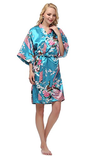 gusuqing Women s Printing Peacock Kimono Robe Short Sleeve Silk Bridal Robe 2025c1eec