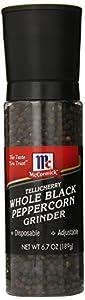 McCormick Tellicherry Whole Black Peppercorn Grinder, 6.7-Ounce
