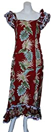 ISLAND BEAUTY HAWAIIAN RUFFLE LONG MUUMUUS DRESS