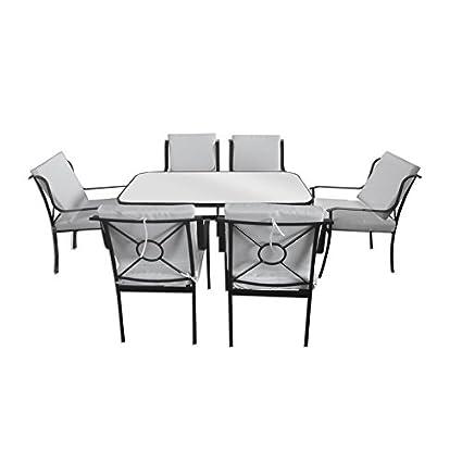 Arredamento da esterni tavolo vetro 6 sedie ferro con cuscini bianchi arredo piscina