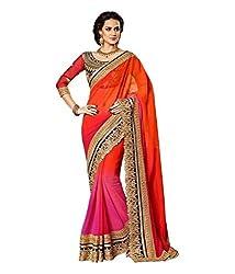 Hari Krishna Sarees Pink and orange sadded saree