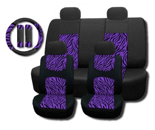 New and Exclusive Mesh Animal Print Interior Set Purple Zebra 11pc Seat Covers Front & Back Lowback, Back Bench, Steering Wheel & Seat Belt Covers - Padded Comfort (Purple Zebra Back Seat Cover compare prices)