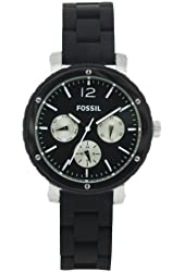 Fossil Women's BQ9408 Silicone Analog with Black Dial Watch