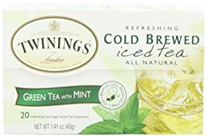 Twinings Green & Mint Cold Brewed Tea, 20-Count Packages (Pack of 6)