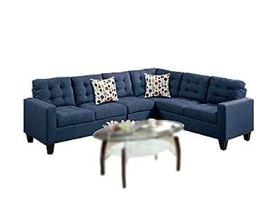 Modern Contemporary Polyfiber Fabric Modular Sectional Sofa (Black / Navy Blue)
