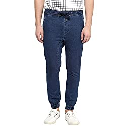 Hypernation Men's Cotton Denim Jogger Pant (HYPM0828-34_Blue_34)