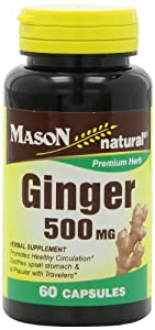 Mason Vitamins Ginger 500Mg Capsules, 60-Count Bottles (Pack of 3)