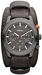 Fossil Keaton Cuff Chronograph Grey Leather Mens Watch JR1418