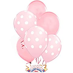 24 Light Pink Plain and Polka Dot Balloons - Made in USA