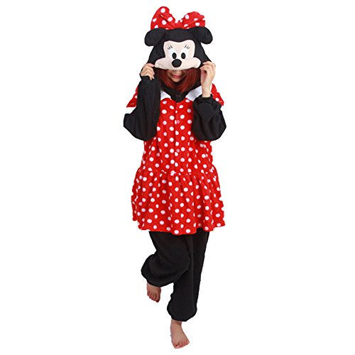 MOE Minnie Mouse Kigurumi Pajama Cosplay Costume Polar Fleece Black & Red