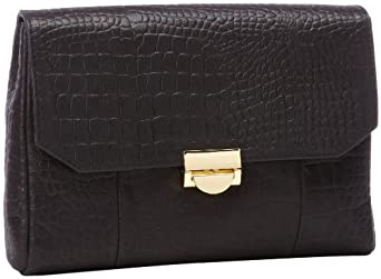 Lauren Merkin Mini Marlow MM3F257 Clutch,Black Shimmer Crocodile,One Size