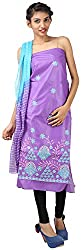 Hardy's Style Women's Cotton Silk Dress Material (HS-31, Purple)