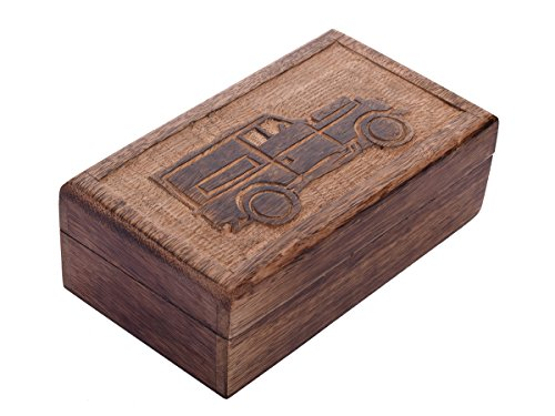 Christmas Thanksgiving Gifts Vintage Style Decorative Wooden Keepsake Storage Box Multipurpose Jewelry Makeup Accessories Tools Teabags Holder Organizer with Hand Carved Car Design (Vintage Style Jewelry Box compare prices)