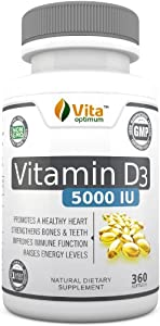 Vitamin D3 5000 IU - 100% Best Natural Sources - GMO Free & Preservative Free - 360 Softgels - Prevent Vitamin D Deficiency and its Symptoms by Taking a Daily Supplement