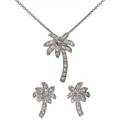 Palm Tree Necklace and Stud Earring Set Size 16 inches (16 inches 18 inches Available)