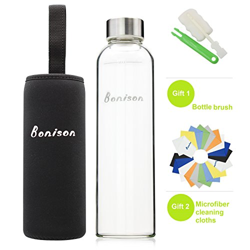 BONISON Stylish High-quality Environmental Borosilicate Glass Water Bottle with Colorful Nylon Sleeve (18 oz) (BLACK) (Juice Glasses Black compare prices)