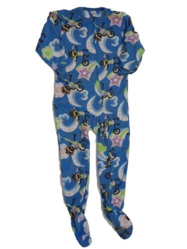 Circo Girls Blue Monkey Fleece Blanket Sleeper Union Suit Pajamas front-779013