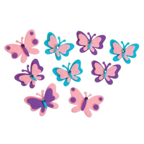 WeGlow International Felt Butterflies Sticker Set, 40-Piece