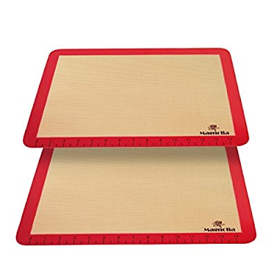 Silicone Baking Mat Set (2) Half Sheets - Professional Grade Non Stick Cookie Sheets - Super Strong Quality- With Measurements For Easy Baking - Beautiful bright Cherry Color Border - By Magnolia