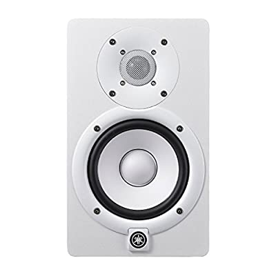Yamaha HS5 Powered Studio Audio Monitor (White, 2-Pack) with Two 25' XLR Cables and Two Studio Monitor Stands by YAMAHA