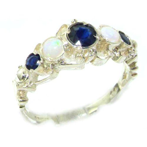 Solid White Gold Genuine Natural Sapphire & Opal Ring of English Georgian Design - Size 8.75 - Finger Sizes 5 to 12 Available