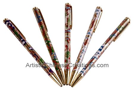Chinese Art / Chinese Gifts / Chinese Cloisonne Products - Stationery & Office: Chinese Cloisonne Pen Set - Dragon Symbols (Set of 5)