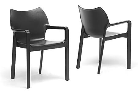 Limerick Black Plastic Stackable Modern Dining Chair with Chanasya Polish Cloth Bundle (Set of Two)