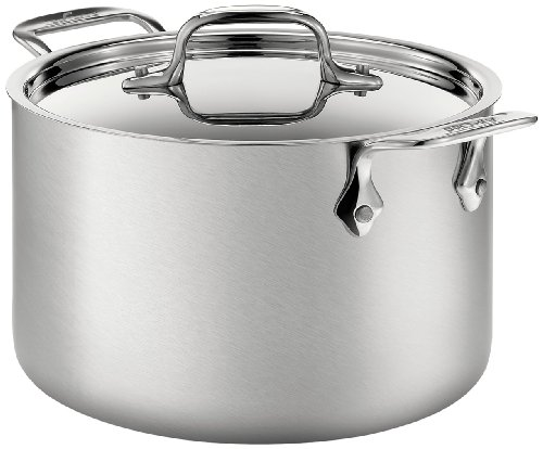 All-Clad BD552043 D5 Brushed 18/10 Stainless Steel 5-Ply Bonded Dishwasher Safe Soup Pot with Lid Cookware, 4-Quart, Silver (All Clad Pots compare prices)