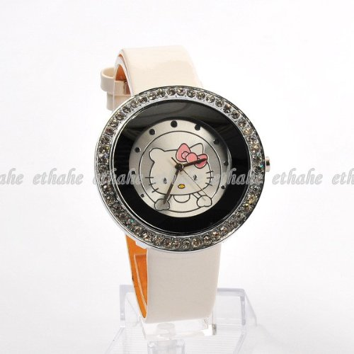 Hello Kitty Round Wrist Watch Wristwatch White Toys & Games
