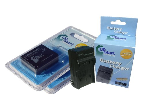 UpStart Battery DMW-BLE9 Replacement 2 Batteries + Charger Kit for Panasonic Digital Cameras
