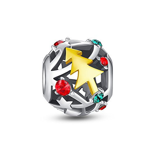 Glamulet Art Women's 925 Sterling Silver Sparkly Christmas Tree Charm Fits Pandora Bracelet
