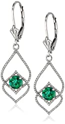 Sterling Silver Created-Gemstone Lever-Back Earrings