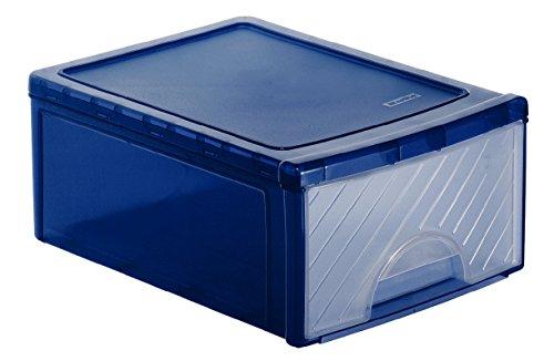 Schubladenbox Frontbox aus Kunststoff (PP), Ablagefach mit 1 Schub klein, 35x25.5x14.5 cm, transparent/blaues Ablagesystem, DIN A4 Ablagebox für Schreibtisch, Büro - Hergestellt in der Schweiz, 1767806149