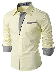 Doublju Mens Dress Shirt with Contras…