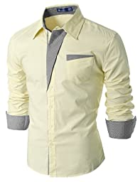 Doublju Mens Dress Shirt with Contrast Detail BEIGE (US-M)