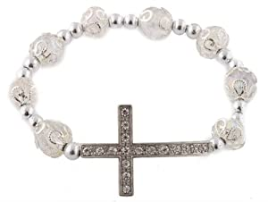 3 Pieces of Clear Iced Out Sideways Cross Ornamental Style Beaded Stretch Bracelet