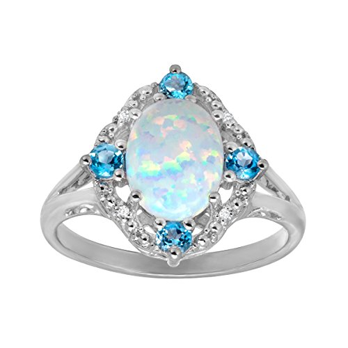 1 1/6 ct Created Opal and Natural Swiss Blue Topaz Ring with Diamonds in Sterling Silver Size 7 - Jewelry.com