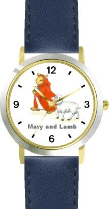 Mary Had A Little Lamb No.1 - From Mother Goose By Artist: Sylvia Long - Watchbuddy® Deluxe Two-Tone Theme Watch - Arabic Numbers - Blue Leather Strap-Size-Women'S Size-Small front-774478