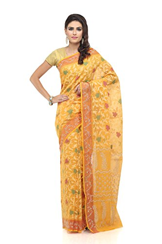 ADA-Hand-Embroidered-Chikan-Casual-Party-Wear-Ethnic-Chanderi-Saree-With-Blouse-A58111