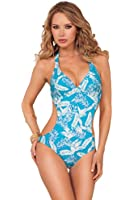 Womens One Piece Halter Top Side Cut Out String Tie Push Up Monokini Swimsuit