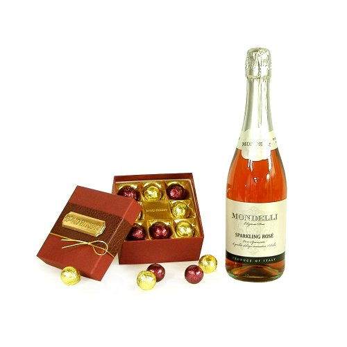 750ml Mondelli Sparkling Rose Wine with Luxury Bond Street Chocolate Truffles - Thank You, Wedding Anniversary, Christmas, Xmas, Corporate Hampers, Engagement Gifts, 18th 21st 30th 40th 50th 60th 70th 80th 90th Birthday Presents for Her Women Mum Him Men