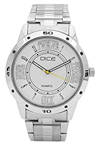 "Dice ""Numbers 4234"" Formal Round Shaped Wrist Watch for Men. Fitted with Beautiful White Color Dial, Stainless Steel Case and Chain"