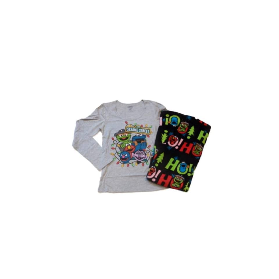 Sesame Street Womens Elmo Pajamas Fleece Sleep Lounge Pants PJs Bottoms T Shirt