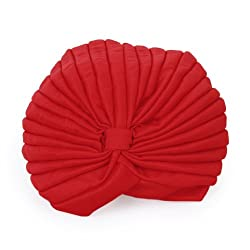 Imported Red Polyester Pleated Turban Head Wrap Headwrap Cap Twist Hat