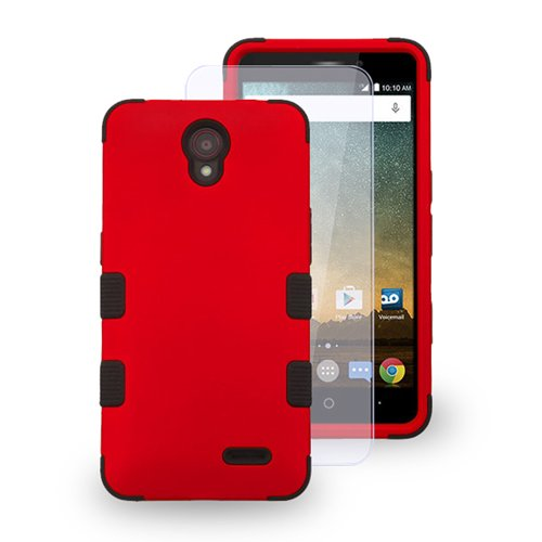 ZTE Maven 2 / Sonata 3 / Avid Trio Case, LUXCA TUFF Hybrid 3-Piece 2-Layer [Heavy Duty] Defender Protective Cover for ZTE Avid Plus / Prestige / Cheers (Red) (Boost Mobile Best Phones compare prices)