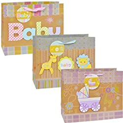 "Baby Gift Bag Set - 3 Pack (12"" by 5"" by 10"") from Unknown"