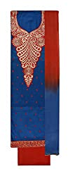 Sanskriti Women's Cotton Unstitched Salwar Suit Material (Blue and Red)