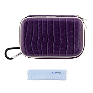 GTMax Purple Crocodile Print Carrying Storage Eva Case + Cleaning Cloth for Nikon COOLPIX AW110, AW110s, AW100, AW100s, S800c, S9500, S9400, S9300, S9200, S9050, S9100; Pentax Optio WG-10, WG-3, WG-2 Digital Cameras